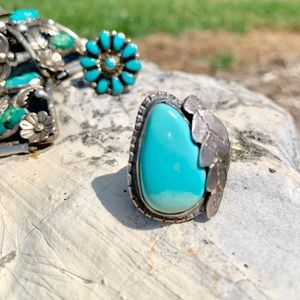 Old Sleeping Beauty Turquoise Ring Large